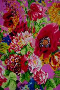Texture of cotton fabric with flower - stock photo