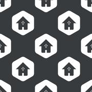 Stock Illustration of Black hexagon christian house pattern