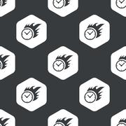 Stock Illustration of Black hexagon burning time pattern