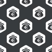Black hexagon euro purse pattern - stock illustration