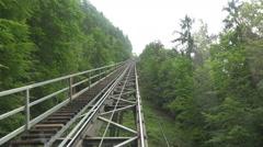Hallstatt Salzwelten Cable Car mountain forest Stock Footage