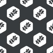 Black hexagon people puzzle pattern Stock Illustration
