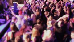 Wild crowd enjoying music, ecstasy dancing, going crazy in club Stock Footage