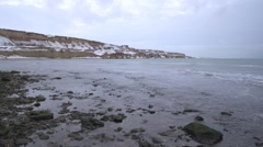 Winter panorama of evening sea from the island. Stock Footage