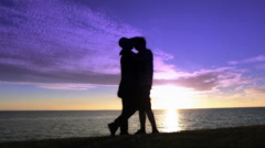 Kiss Romance  Sunset landscape space Sea 5 Stock Footage