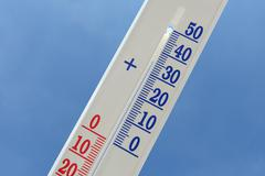 Thermometer in a hot day Stock Photos
