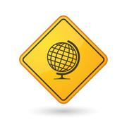 Awareness sign with  a world globe - stock illustration