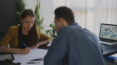 Young woman working at studio loft. Part1 Stock Footage