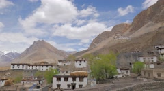 TIMELAPSE Ki village and Gompa in Spiti Valley with clouds,Key,Spiti,India Stock Footage
