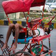 DELHI, INDIA-AUGUST 29: Indian trishaw 29, 2011 in Delhi, India. Bicycle rick Stock Photos
