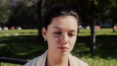 European woman sad face Stock Footage