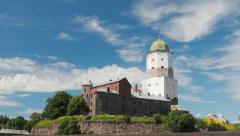 Old Swedish castle in Vyborg Stock Footage