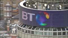 Aerial London - ECU of logo on BT Tower Stock Footage
