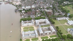 Aerial London - Greenwich Naval College orbit Stock Footage