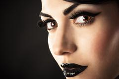 Beauty Model Face with Black Makeup - stock photo