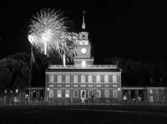 Independence Hall Fireworks Black and White Stock Photos