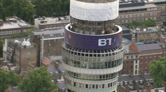 Aerial London - BT Tower orbit and tilt down Stock Footage