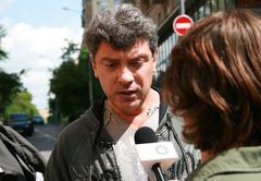 Moscow, Russia - June 4, 2009. Politician Boris Nemtsov interviewed outside t - stock photo