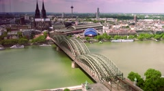 ULTRA HD 4K real time shot,The Cathedral (Dom) and River Rhine, Cologne Stock Footage