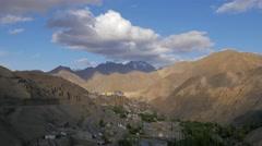 TIMELAPSE Village,gompa and moonland,Lamayuru,Ladakh,India Stock Footage