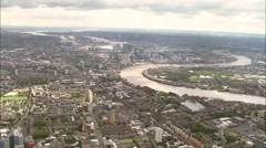 Aerial London - GV of East London towards Canary Wharf - stock footage
