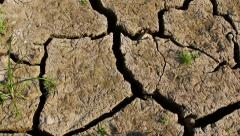 Dry cracked earth during drought Stock Footage
