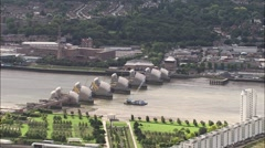 Aerial London - Thames Barrier Stock Footage