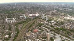 Aerial London - Approaching Arsenal Emirates Stadium Stock Footage