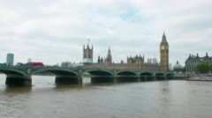 Westminster bridge, Big Ben and Palace of Westminster, central London, UK Stock Footage