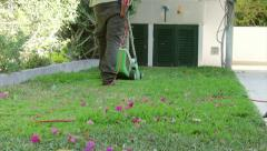 Home Gardening - Electric Mower (Shot 2) Stock Footage