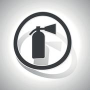 Curved fire extinguisher sign icon - stock illustration