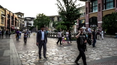 The people have fun in the European style shopping center in Beijing, China. Stock Footage