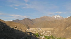 TIMELAPSE Village and gompa at sunset,Lamayuru,Ladakh,India Stock Footage