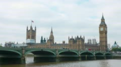 The Palace of Westminster, Elizabeth Tower (Big Ben) and Westminster bridge view - stock footage