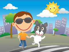 Happy blind child with his guide dog Stock Illustration