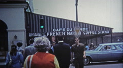 1971: Cafe Du Monde restaurant attracts many people each year. Stock Footage