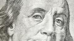 Macro close up of the US 100 dollar bill - stock photo