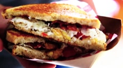 Bacon Tomato and Cheese Sandwich Stock Footage