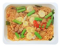 Stir-fried Pork with Basil Leaf and Rice - stock photo