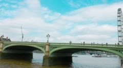 Westminster bridge, Big Ben and Palace of Westminster, London Stock Footage