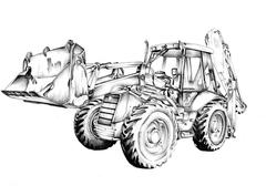 Stock Illustration of Bulldozer illustration art drawing sketch