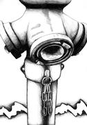 Hydrant water hose drawing sketch art handmade - stock illustration