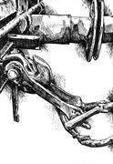 Railway wagon art drawing sketch illustration creativity - stock illustration