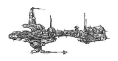 Spaceship art drawing sketch illustration - stock illustration