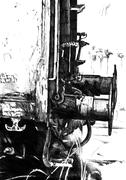 Railway wagon art drawing sketch illustration creativity - stock illustration