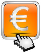 Button with Euro sign with Cursor - stock photo