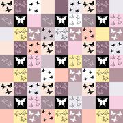 Seamless mosaic background with butterfly motif Stock Illustration