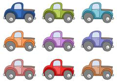 Set of colored cars isolated on white Stock Illustration