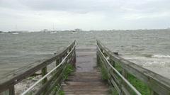 Broadwalk To Fishing Pier Stormy Day Crazy Waves Stock Footage