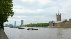 Thames River and Westminster Palace Stock Footage